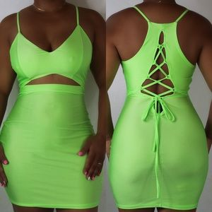Lime green tie back dress